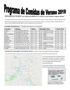 Summer Meals Program 2019 (Spanish)
